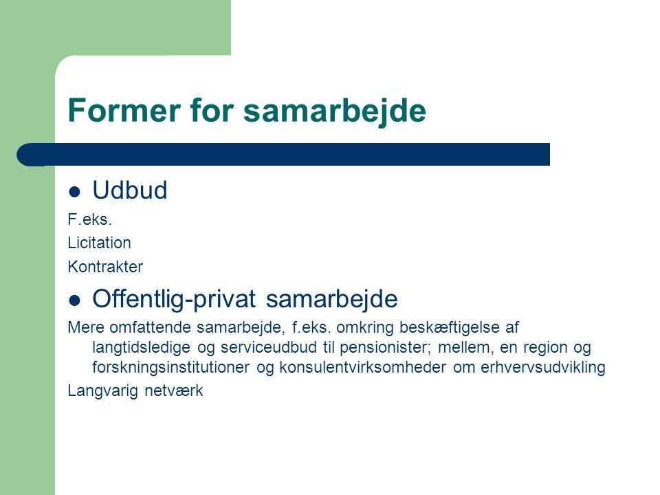 Former for samarbejde Udbud F.eks.