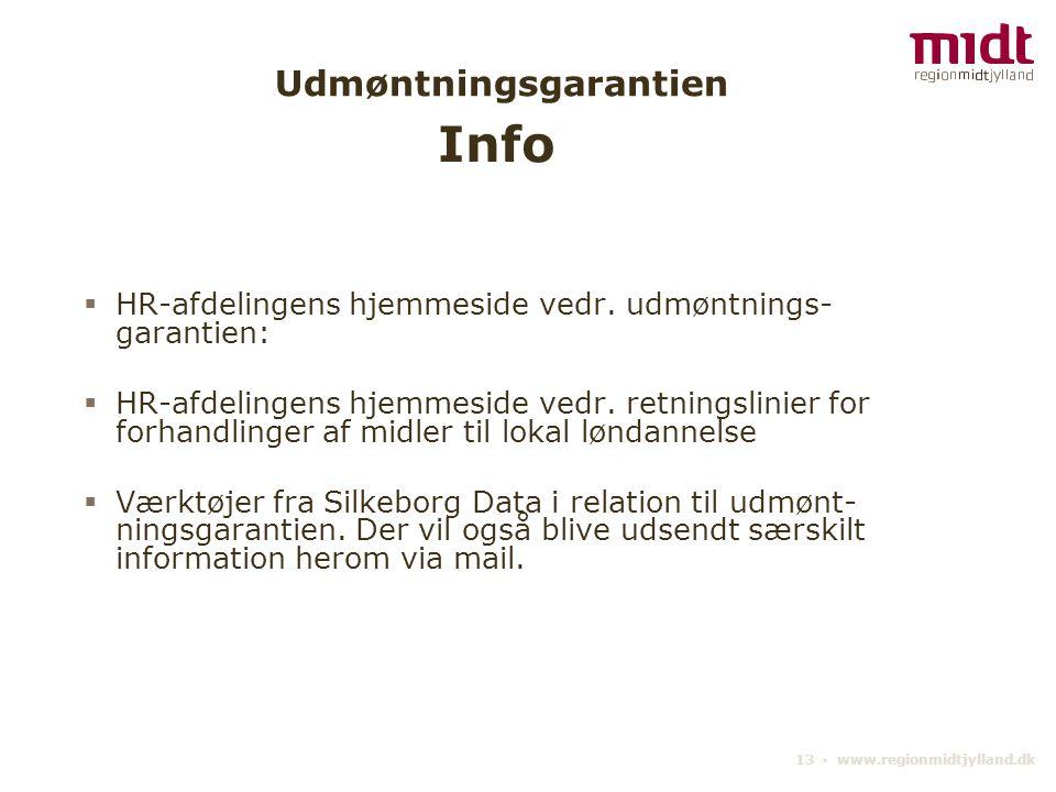 13 ▪ www.regionmidtjylland.dk Udmøntningsgarantien  HR-afdelingens hjemmeside vedr.