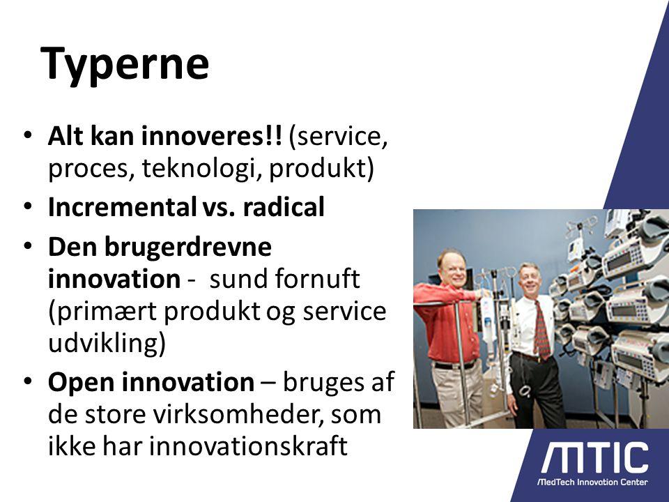 Typerne Alt kan innoveres!. (service, proces, teknologi, produkt) Incremental vs.