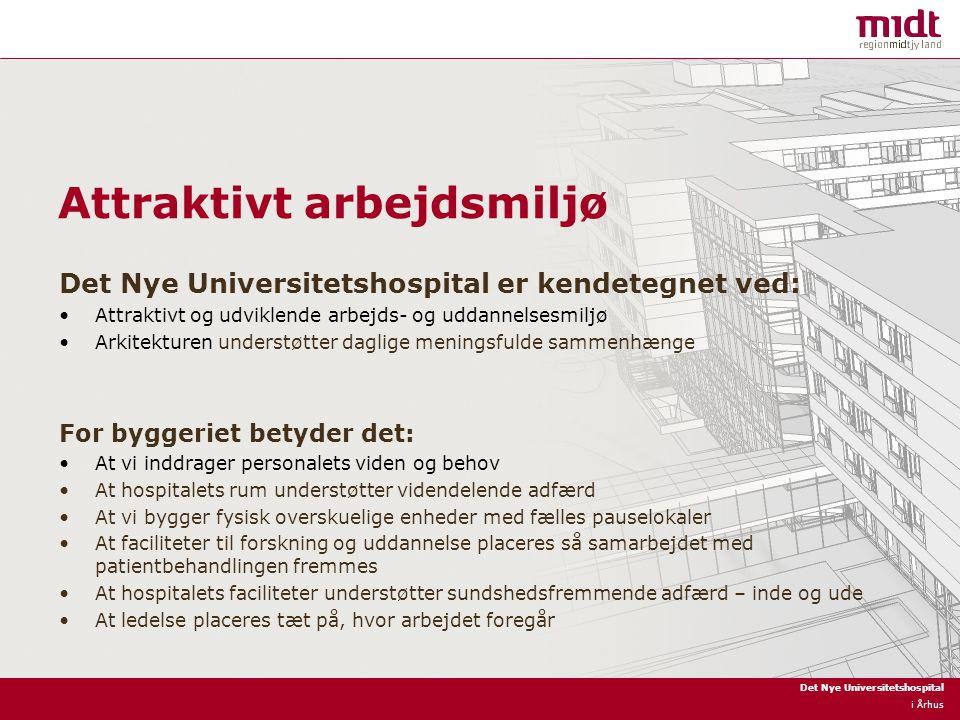 Det Nye Universitetshospital i Århus Attraktivt arbejdsmiljø Det Nye Universitetshospital er kendetegnet ved: Attraktivt og udviklende arbejds- og uddannelsesmiljø Arkitekturen understøtter daglige meningsfulde sammenhænge For byggeriet betyder det: At vi inddrager personalets viden og behov At hospitalets rum understøtter videndelende adfærd At vi bygger fysisk overskuelige enheder med fælles pauselokaler At faciliteter til forskning og uddannelse placeres så samarbejdet med patientbehandlingen fremmes At hospitalets faciliteter understøtter sundshedsfremmende adfærd – inde og ude At ledelse placeres tæt på, hvor arbejdet foregår