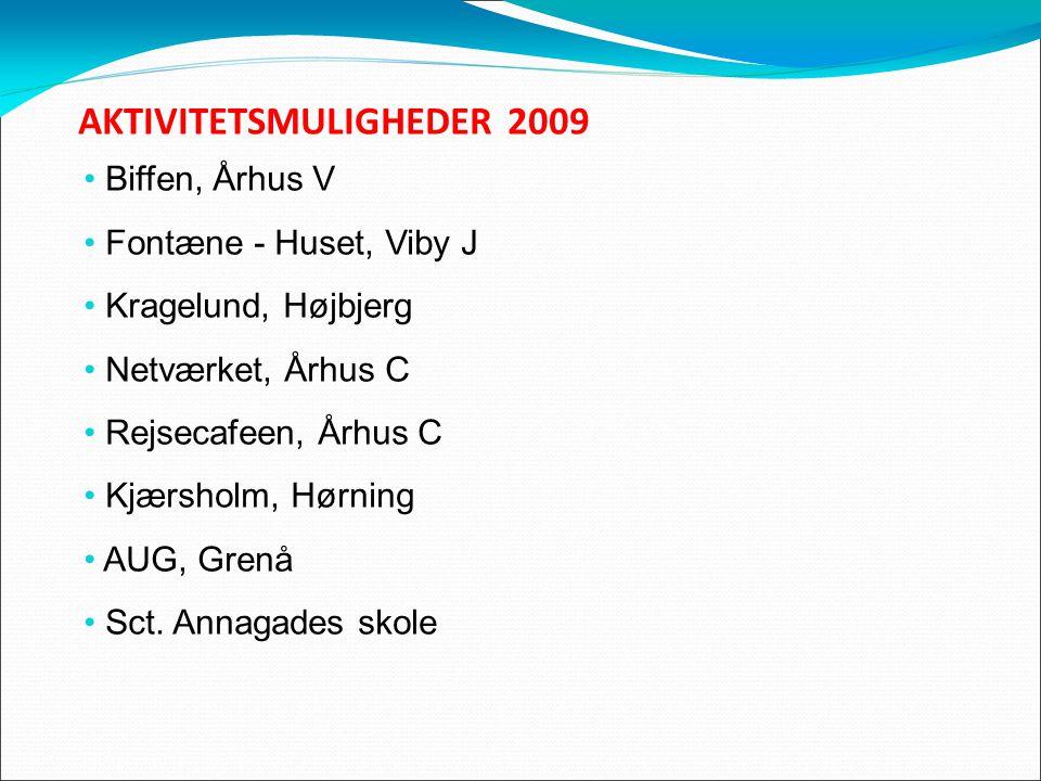 AKTIVITETSMULIGHEDER 2009 Biffen, Århus V Fontæne - Huset, Viby J Kragelund, Højbjerg Netværket, Århus C Rejsecafeen, Århus C Kjærsholm, Hørning AUG, Grenå Sct.