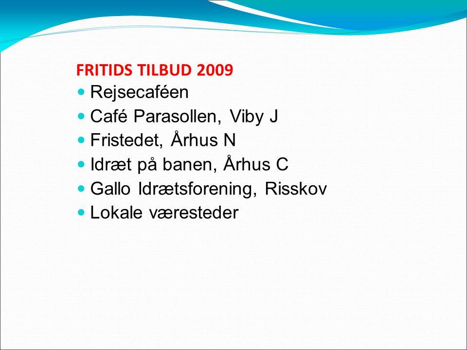 FRITIDS TILBUD 2009 Rejsecaféen Café Parasollen, Viby J Fristedet, Århus N Idræt på banen, Århus C Gallo Idrætsforening, Risskov Lokale væresteder