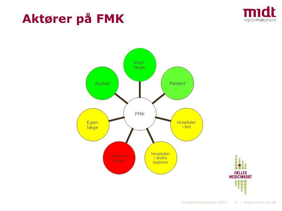 Hospitalsenheden VEST 4 ▪ www.vest.rm.dk Aktører på FMK FMK Vagt- læge Patient Hospitaler i RM Hospitaler i andre regioner Hjemme plejen Egen læge Apotek