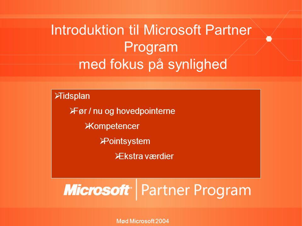 Mød Microsoft 2004 Introduktion til Microsoft Partner Program med fokus på synlighed Jesper Herp Teamchef, Kompetence & Partnerprogrammer  Tidsplan  Før / nu og hovedpointerne  Kompetencer  Pointsystem  Ekstra værdier