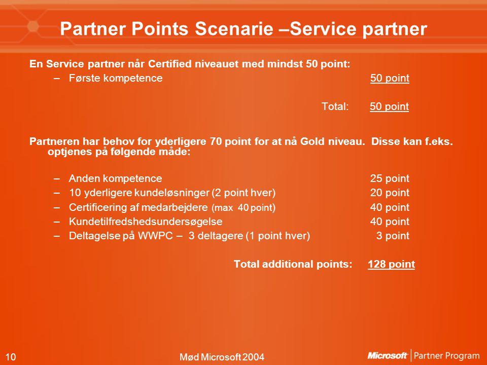 10Mød Microsoft 2004 Partner Points Scenarie –Service partner En Service partner når Certified niveauet med mindst 50 point: –Første kompetence50 point Total: 50 point Partneren har behov for yderligere 70 point for at nå Gold niveau.