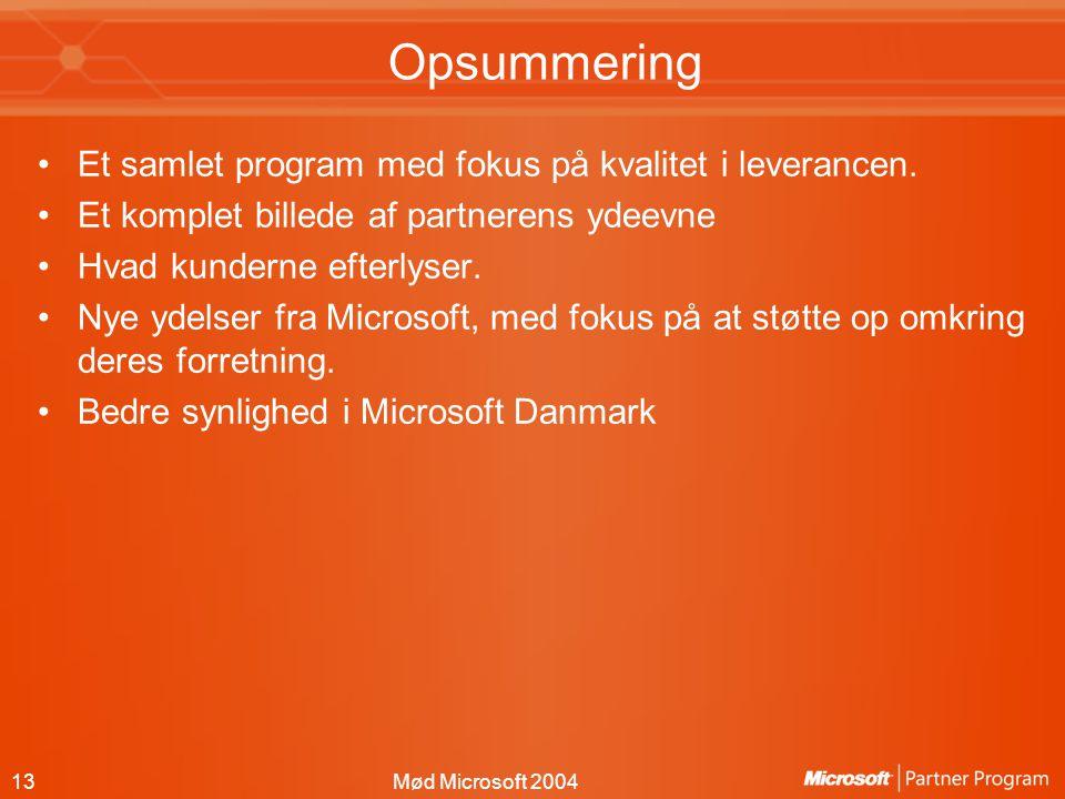 13Mød Microsoft 2004 Opsummering Et samlet program med fokus på kvalitet i leverancen.