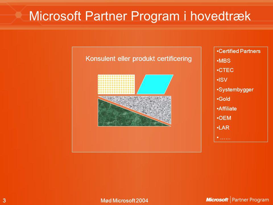 3Mød Microsoft 2004 Microsoft Partner Program i hovedtræk Konsulent eller produkt certificering Certified Partners MBS CTEC ISV Systembygger Gold Affiliate OEM LAR ……