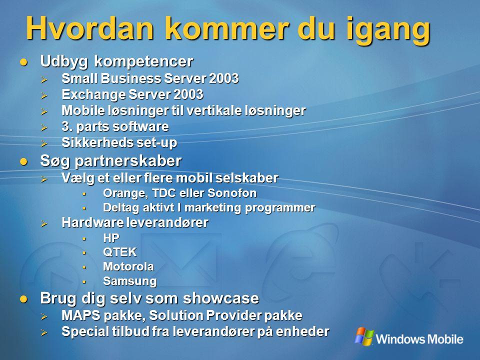 Hvordan kommer du igang Udbyg kompetencer Udbyg kompetencer  Small Business Server 2003  Exchange Server 2003  Mobile løsninger til vertikale løsninger  3.