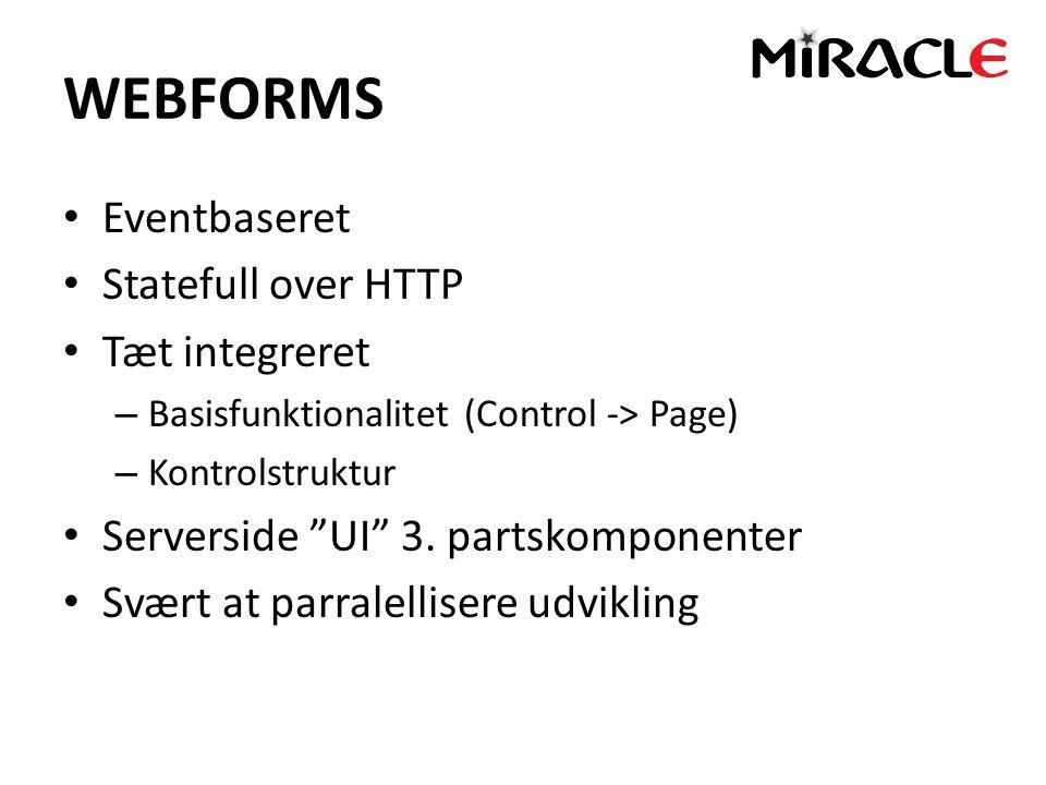 WEBFORMS Eventbaseret Statefull over HTTP Tæt integreret – Basisfunktionalitet (Control -> Page) – Kontrolstruktur Serverside UI 3.