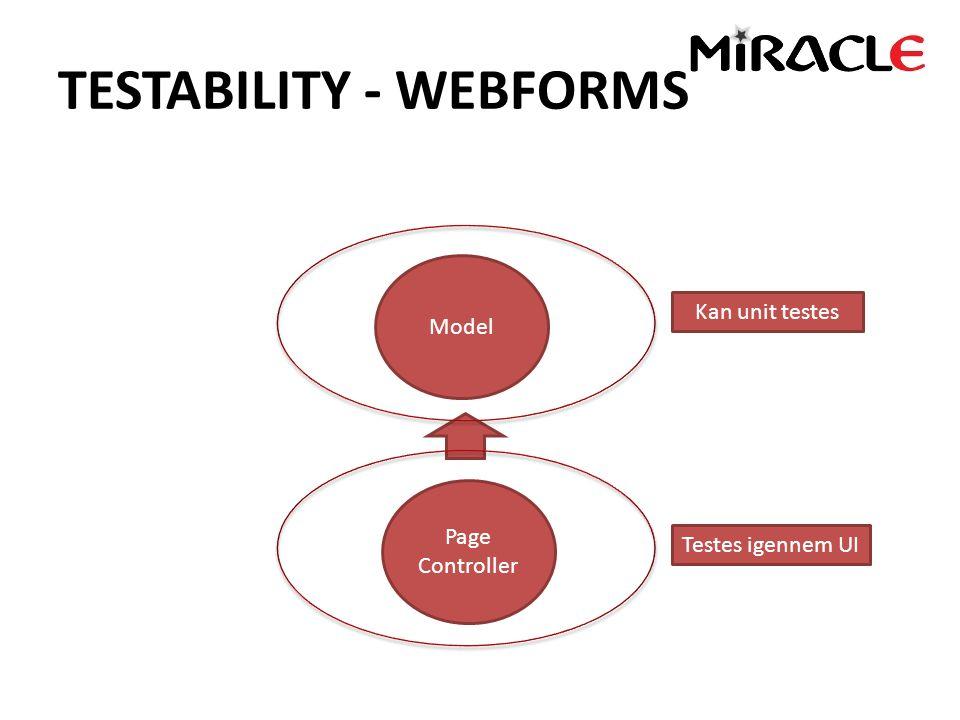 TESTABILITY - WEBFORMS Model Page Controller Testes igennem UI Kan unit testes