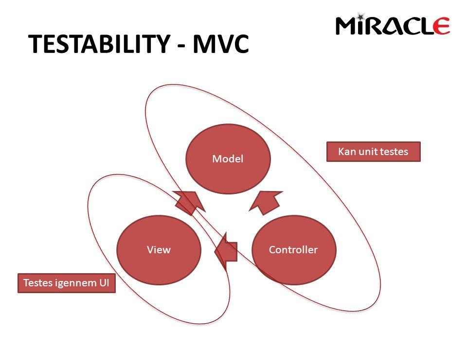 TESTABILITY - MVC Model ViewController Kan unit testes Testes igennem UI