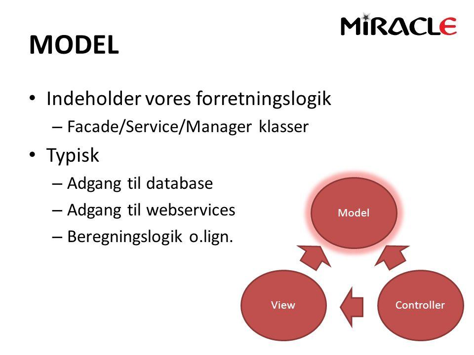 MODEL Indeholder vores forretningslogik – Facade/Service/Manager klasser Typisk – Adgang til database – Adgang til webservices – Beregningslogik o.lign.