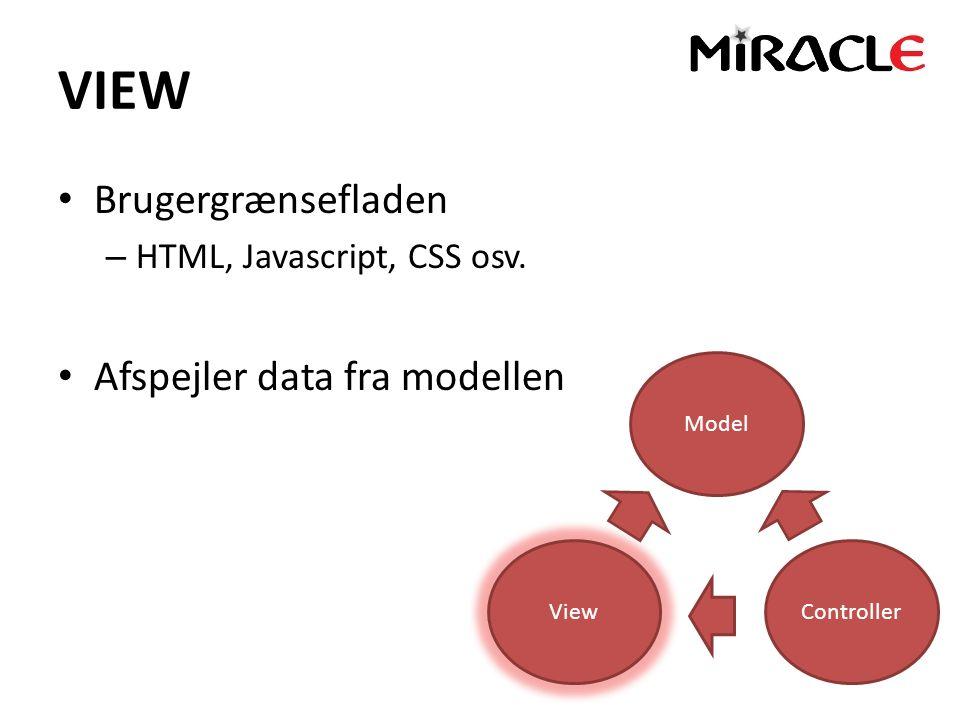VIEW Brugergrænsefladen – HTML, Javascript, CSS osv.