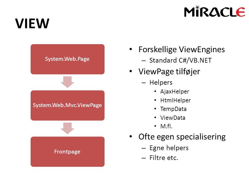VIEW System.Web.PageSystem.Web.Mvc.ViewPageFrontpage Forskellige ViewEngines – Standard C#/VB.NET ViewPage tilføjer – Helpers AjaxHelper HtmlHelper TempData ViewData M.fl.