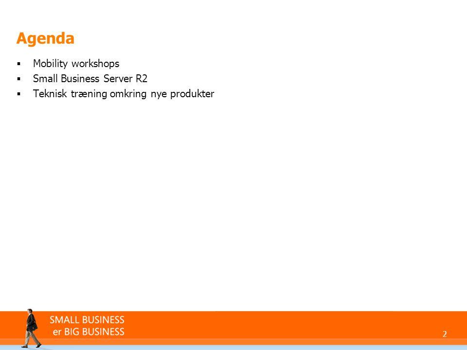 2 Agenda  Mobility workshops  Small Business Server R2  Teknisk træning omkring nye produkter