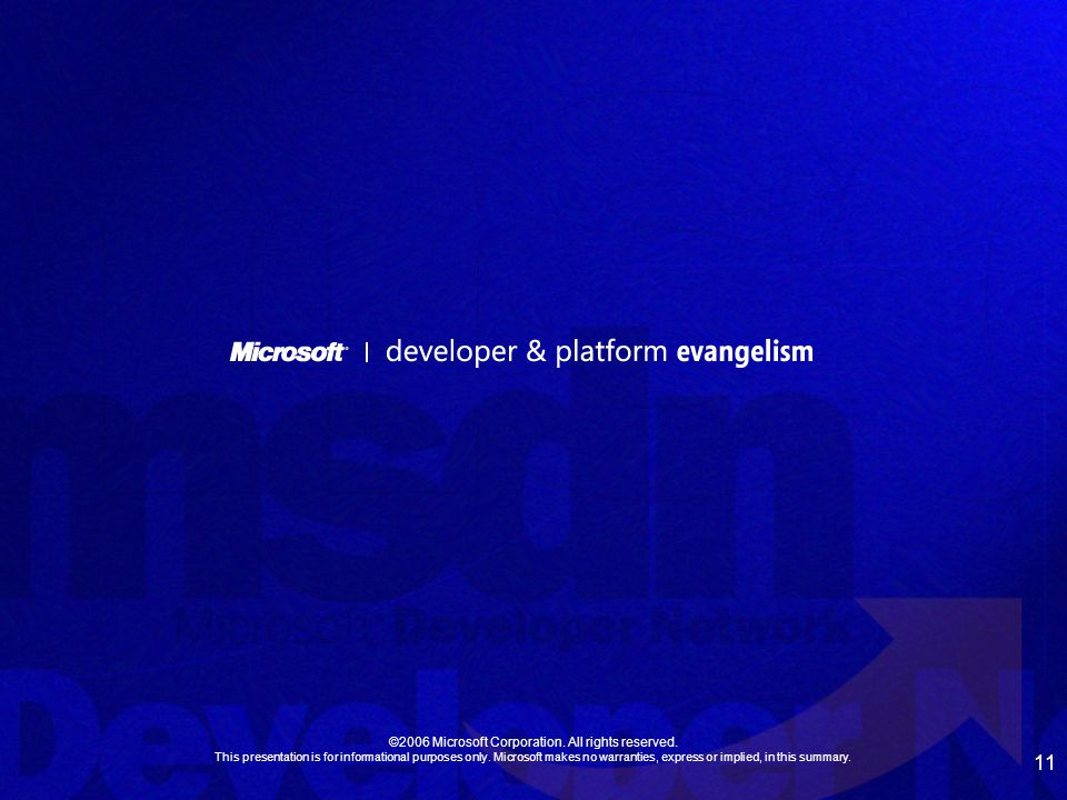 11 ©2006 Microsoft Corporation. All rights reserved.