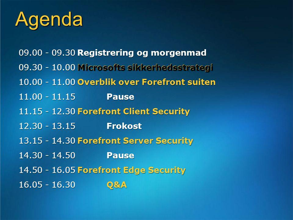 Agenda 09.00 - 09.30Registrering og morgenmad 09.30 - 10.00Microsofts sikkerhedsstrategi 10.00 - 11.00Overblik over Forefront suiten 11.00 - 11.15Pause 11.15 - 12.30Forefront Client Security 12.30 - 13.15Frokost 13.15 - 14.30Forefront Server Security 14.30 - 14.50 Pause 14.50 - 16.05Forefront Edge Security 16.05 - 16.30 Q&A Microsofts sikkerhedsstrategi