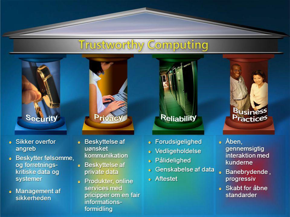 Åben, gennemsigtig interaktion med kunderne Banebrydende, progressiv Skabt for åbne standarder ForudsigelighedVedligeholdelsePålidelighed Genskabelse af data Aftestet Sikker overfor angreb Beskytter følsomme, og forretnings- kritiske data og systemer Management af sikkerheden Beskyttelse af uønsket kommunikation Beskyttelse af private data Produkter, online services med pricipper om en fair informations- formidling