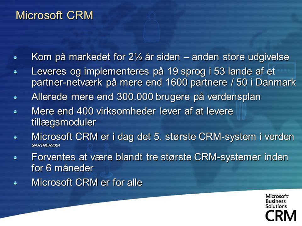 Microsoft CRM Kom på markedet for 2½ år siden – anden store udgivelse Leveres og implementeres på 19 sprog i 53 lande af et partner-netværk på mere end 1600 partnere / 50 i Danmark Allerede mere end 300.000 brugere på verdensplan Mere end 400 virksomheder lever af at levere tillægsmoduler Microsoft CRM er i dag det 5.