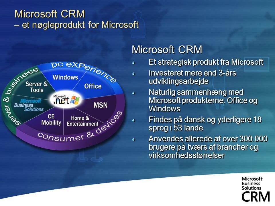 Microsoft CRM – et nøgleprodukt for Microsoft Microsoft CRM Et strategisk produkt fra Microsoft Investeret mere end 3-års udviklingsarbejde Naturlig sammenhæng med Microsoft produkterne: Office og Windows Findes på dansk og yderligere 18 sprog i 53 lande Anvendes allerede af over 300.000 brugere på tværs af brancher og virksomhedsstørrelser