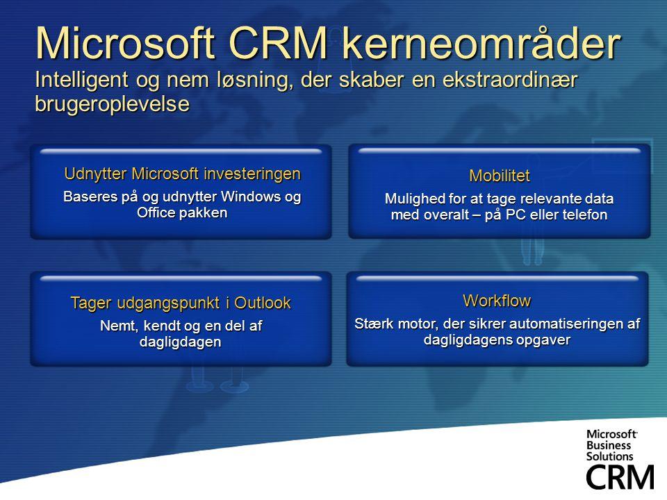 Microsoft CRM kerneområder Intelligent og nem løsning, der skaber en ekstraordinær brugeroplevelse Udnytter Microsoft investeringen Baseres på og udnytter Windows og Office pakken Workflow Stærk motor, der sikrer automatiseringen af dagligdagens opgaver Mobilitet Mulighed for at tage relevante data med overalt – på PC eller telefon Tager udgangspunkt i Outlook Nemt, kendt og en del af dagligdagen