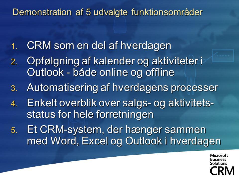 Demonstration af 5 udvalgte funktionsområder 1. CRM som en del af hverdagen 2.