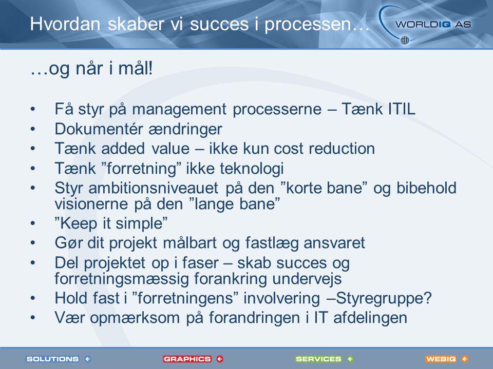 Hvordan skaber vi succes i processen… …og når i mål.