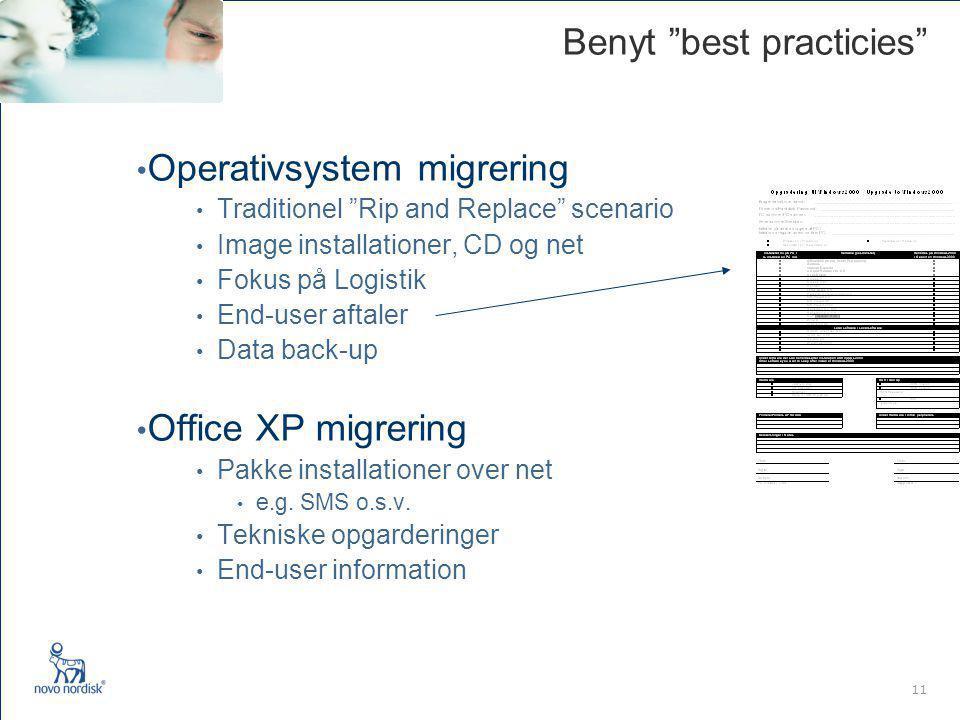 11 Benyt best practicies Operativsystem migrering Traditionel Rip and Replace scenario Image installationer, CD og net Fokus på Logistik End-user aftaler Data back-up Office XP migrering Pakke installationer over net e.g.