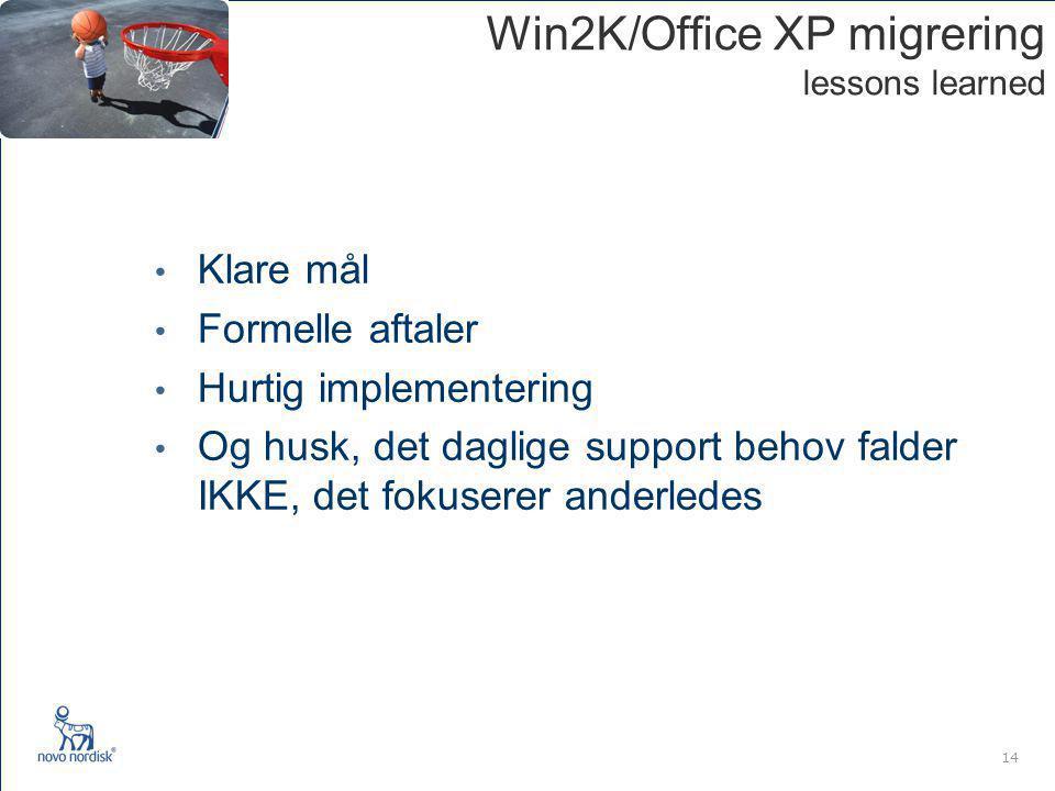 14 Win2K/Office XP migrering lessons learned Klare mål Formelle aftaler Hurtig implementering Og husk, det daglige support behov falder IKKE, det fokuserer anderledes