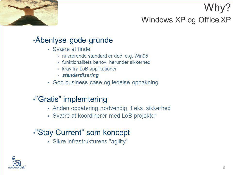 5 Why. Windows XP og Office XP Åbenlyse gode grunde Svære at finde nuværende standard er død, e.g.