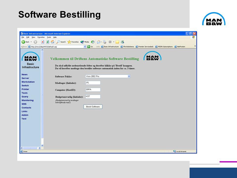 Software Bestilling