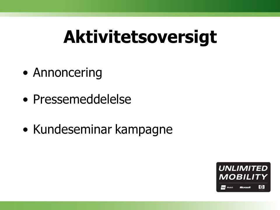 Aktivitetsoversigt Annoncering Pressemeddelelse Kundeseminar kampagne