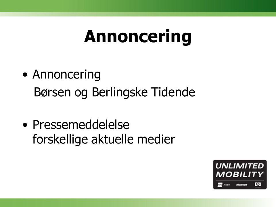Annoncering Børsen og Berlingske Tidende Pressemeddelelse forskellige aktuelle medier