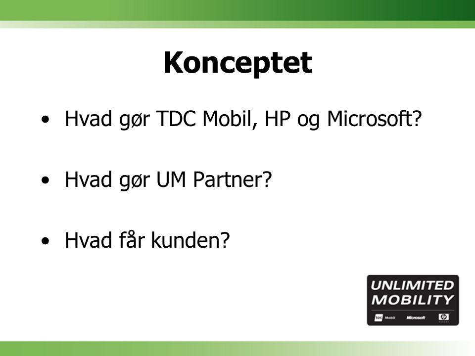 Konceptet Hvad gør TDC Mobil, HP og Microsoft Hvad gør UM Partner Hvad får kunden