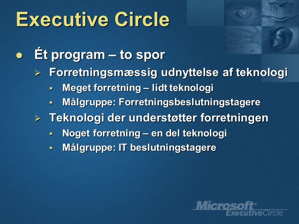 Executive Circle Ét program – to spor Ét program – to spor  Forretningsmæssig udnyttelse af teknologi  Meget forretning – lidt teknologi  Målgruppe: Forretningsbeslutningstagere  Teknologi der understøtter forretningen  Noget forretning – en del teknologi  Målgruppe: IT beslutningstagere