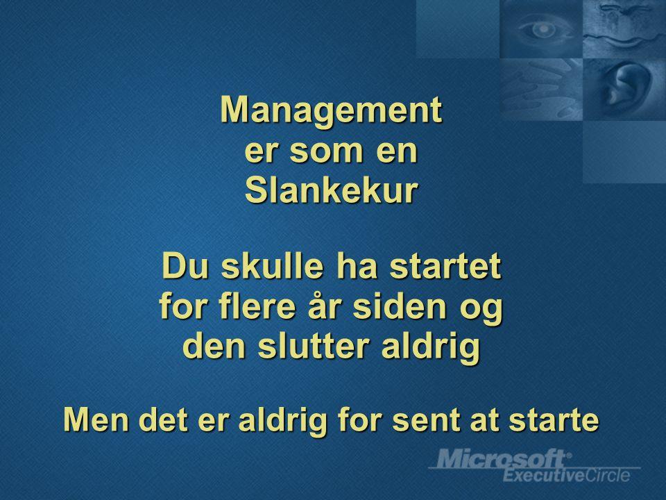 Management er som en Slankekur Du skulle ha startet for flere år siden og den slutter aldrig Men det er aldrig for sent at starte
