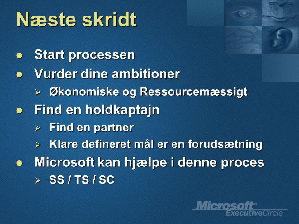 Næste skridt Start processen Start processen Vurder dine ambitioner Vurder dine ambitioner  Økonomiske og Ressourcemæssigt Find en holdkaptajn Find en holdkaptajn  Find en partner  Klare defineret mål er en forudsætning Microsoft kan hjælpe i denne proces Microsoft kan hjælpe i denne proces  SS / TS / SC