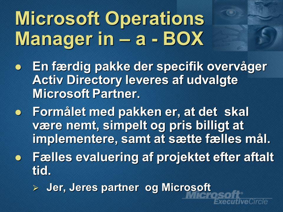 Microsoft Operations Manager in – a - BOX En færdig pakke der specifik overvåger Activ Directory leveres af udvalgte Microsoft Partner.