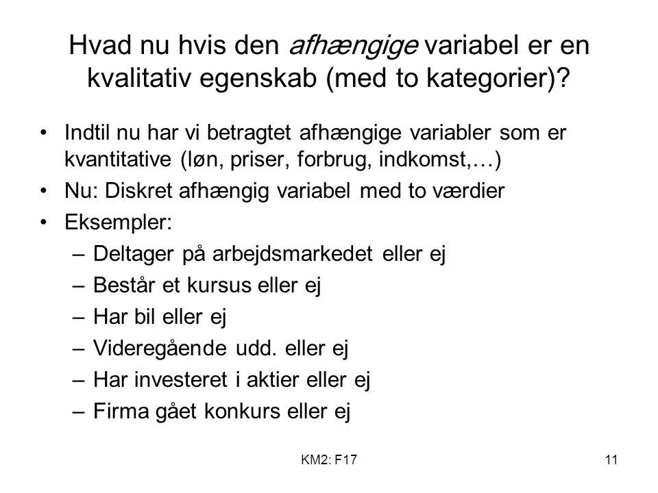 KM2: F1711 Hvad nu hvis den afhængige variabel er en kvalitativ egenskab (med to kategorier).