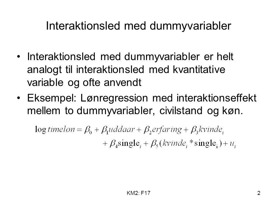 KM2: F172 Interaktionsled med dummyvariabler Interaktionsled med dummyvariabler er helt analogt til interaktionsled med kvantitative variable og ofte anvendt Eksempel: Lønregression med interaktionseffekt mellem to dummyvariabler, civilstand og køn.
