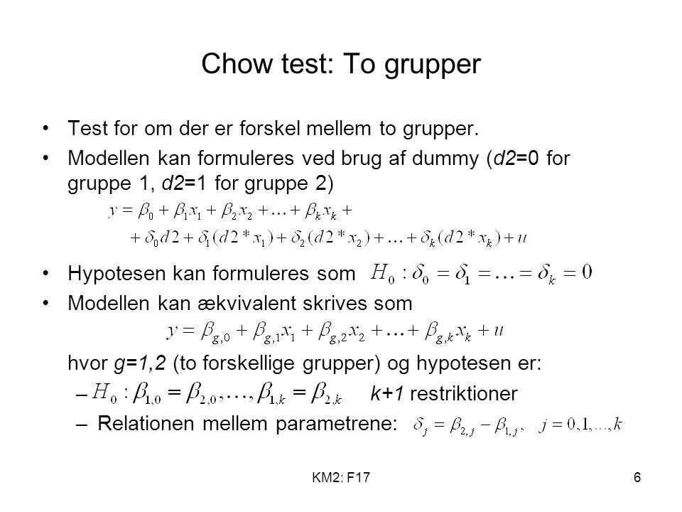 KM2: F176 Chow test: To grupper Test for om der er forskel mellem to grupper.