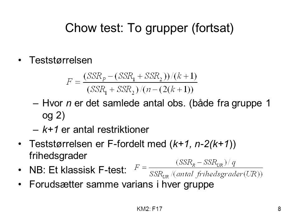 KM2: F178 Chow test: To grupper (fortsat) Teststørrelsen –Hvor n er det samlede antal obs.