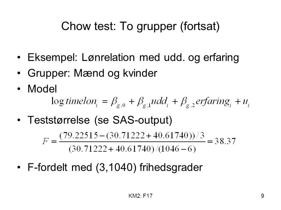 KM2: F179 Chow test: To grupper (fortsat) Eksempel: Lønrelation med udd.