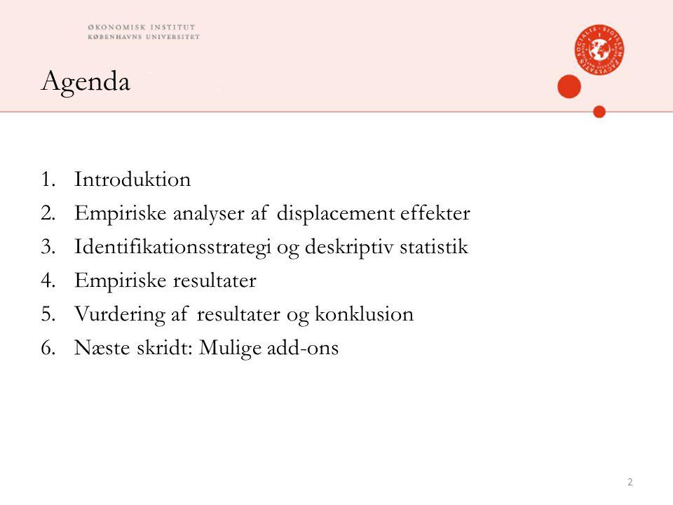 Agenda 1.Introduktion 2.Empiriske analyser af displacement effekter 3.Identifikationsstrategi og deskriptiv statistik 4.Empiriske resultater 5.Vurdering af resultater og konklusion 6.Næste skridt: Mulige add-ons 2