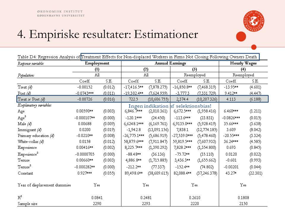 4. Empiriske resultater: Estimationer 27 Ingen indikation af selektionsbias!