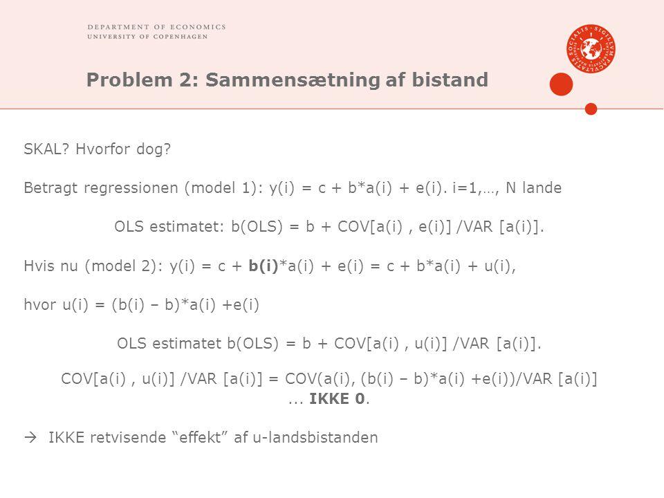 Problem 2: Sammensætning af bistand SKAL. Hvorfor dog.