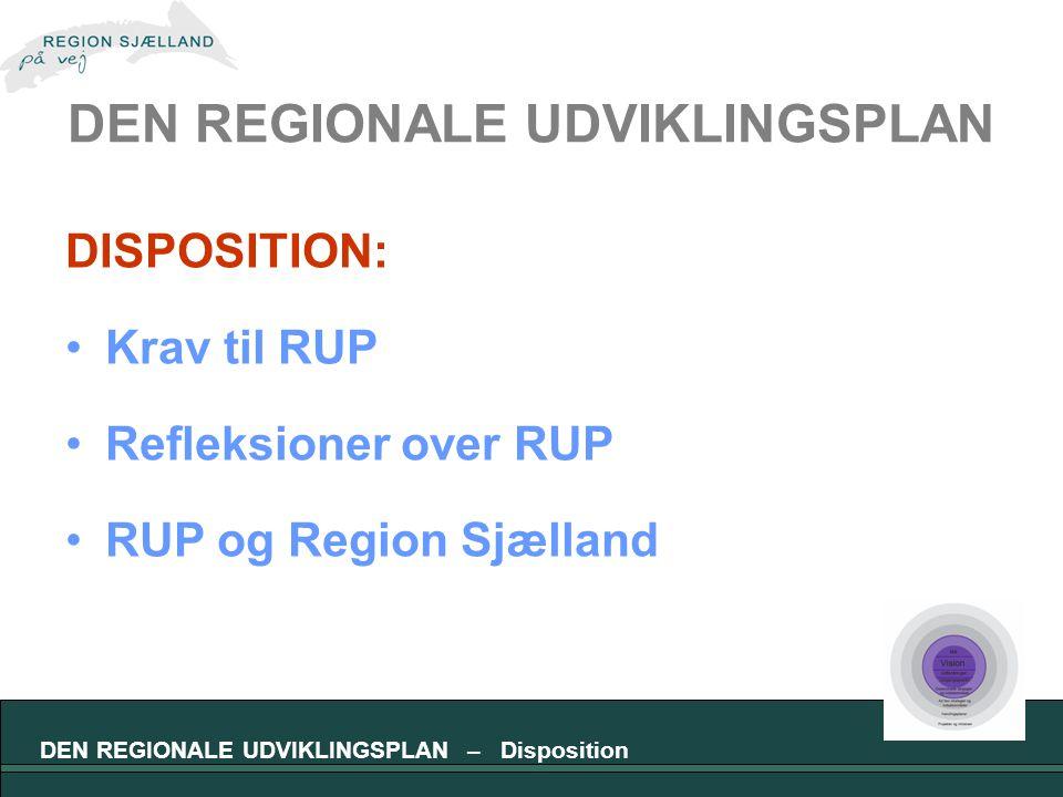 DEN REGIONALE UDVIKLINGSPLAN DISPOSITION: Krav til RUP Refleksioner over RUP RUP og Region Sjælland DEN REGIONALE UDVIKLINGSPLAN – Disposition