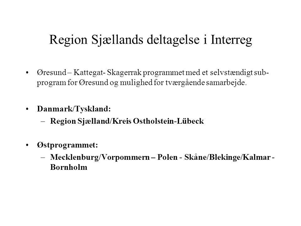 Region Sjællands deltagelse i Interreg Øresund – Kattegat- Skagerrak programmet med et selvstændigt sub- program for Øresund og mulighed for tværgående samarbejde.