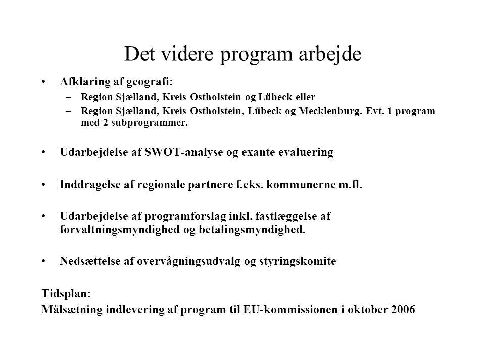 Det videre program arbejde Afklaring af geografi: –Region Sjælland, Kreis Ostholstein og Lübeck eller –Region Sjælland, Kreis Ostholstein, Lübeck og Mecklenburg.