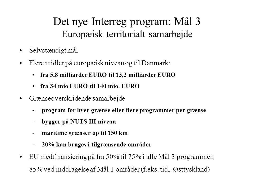 Det nye Interreg program: Mål 3 Europæisk territorialt samarbejde Selvstændigt mål Flere midler på europæisk niveau og til Danmark: fra 5,8 milliarder EURO til 13,2 milliarder EURO fra 34 mio EURO til 140 mio.